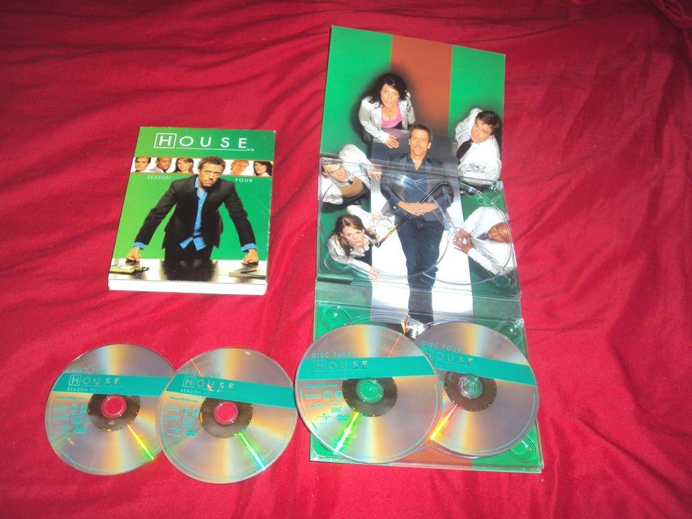 HOUSE SEASON 4 FOUR DVD 4 DISCS BOX ART & DISC ART CASE NEAR MINT TO VERY GOOD