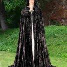 Hooded Cloak Black Velvet Medieval Renaissance Midnight Fantasy Pagan Wiccan Ceremonial Attire
