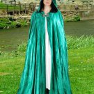 Hooded Cloak Jade Green Velvet Medieval Renaissance Midnight Fantasy Pagan Wiccan Ceremonial Attire