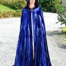 Hooded Cloak Royal Blue Velvet Medieval Renaissance Midnight Fantasy Pagan Wiccan Ceremonial Attire