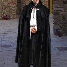 Black Velvet Vampire Cloak Manteau Gothic Medieval Renaissance Ceremony Goth Attire
