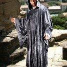 The Regency Hooded Robe Dark Grey Velvet Medieval Renaissance Ritual Ceremony Attire