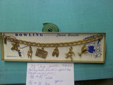 charm bracelet still on card and in original box - Bowling 1950's or 60's