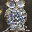 Coro aurora borealis rhinestone and cabochon owl pin