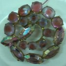 Vintage brooch with purple and pink frosted stones and aurora borealis rhinestones