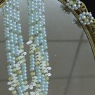 Pale blue with white and yellow beads necklace and clip earrings vintage set from Japan