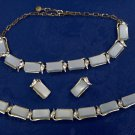 Thermoset plastic - light blue vintage jewelry set - unsigned