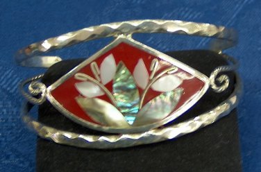 Silver cuff vintage bracelet - handmade with inlays