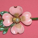 Vintage pink dogwood enamel pin - brooch with faux pearl Original By Robert