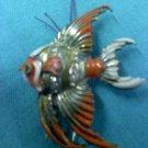 vintage Fur clip-orange and white enamel on goldtone fish with rhinestones
