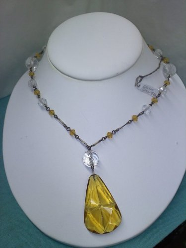 citrine or pale amber glass and crystal 1920's vintage necklace