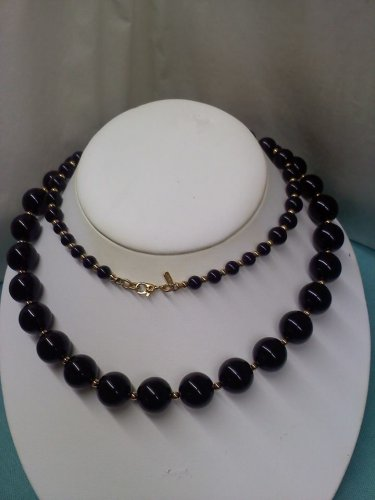 Monet long vintage necklace black and gold