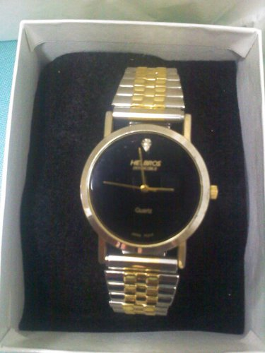 Men's Helbros INVINCIBLE black and gold watch with gold and silver Speidel stretch band
