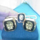 Speidel 12k gold filled Roman soldier - Spartan design cuff links & tie bar