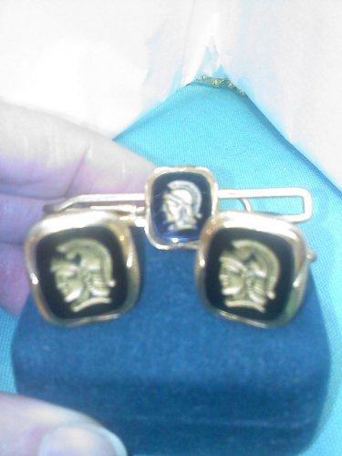 Speidel 12k gold filled Roman soldier - Spartan design cuff links & tie bar