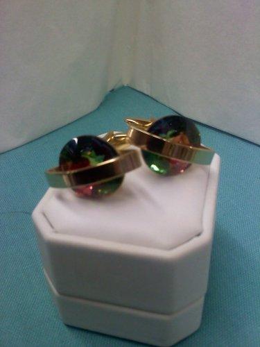 Shields watermelon rhinestone crystal vintage cuff links set in goldtone