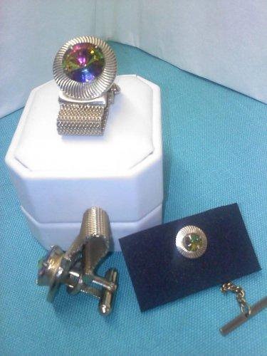 Shields watermelon rhinestone rivoli crystal vintage mesh cuff links set in goldtone