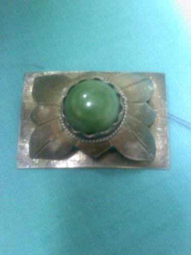 vintage handmade - hand crafted silver pin with large green turquoise stone