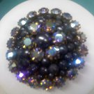 Marvella Gray and black with aurora borealis rhinestones vintage pin brooch