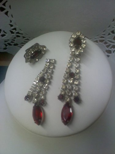 Rhinestone and faux ruby vintage clip earrings - can be worn in two ways
