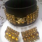 Vintage Astra (Joseph Wiesner) clip earrings and matching amber rhinestone bracelet in goldtone