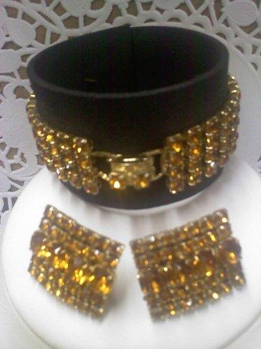 Vintage Astra (Joseph Wiesner) clip earrings and matching amber rhinestone bracelet in goldtone