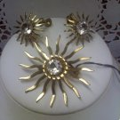 "Sarah Coventry vintage pin and clip earrings set ""Fascination"" goldtone"