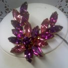 Pink, fuchsia and purple rhinestones vintage pin brooch