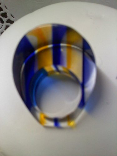 Vintage bold Retro MOD chunky blue and gold striped Lucite ring