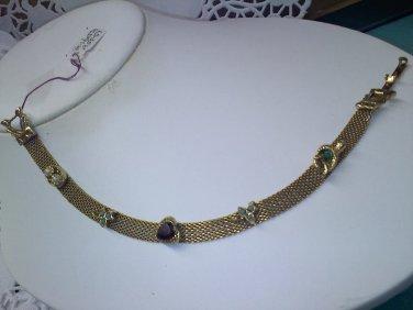 Goldette Victorian revival style mesh bracelet - vintage goldtone