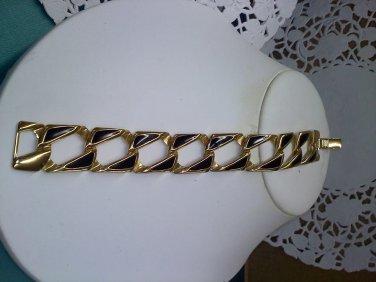 Napier link bracelet - vintage goldtone and black