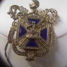 Coro Heraldic Coat-Of-Arms blue enamel Maltese cross figural vintage brooch pin