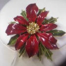 Pretty enameled red poinsettia with rhinestones by ART vintage brooch pin
