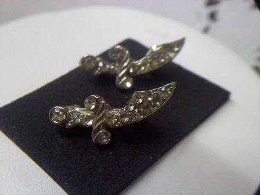 Two tiny rhinestone dagger pins - vintage