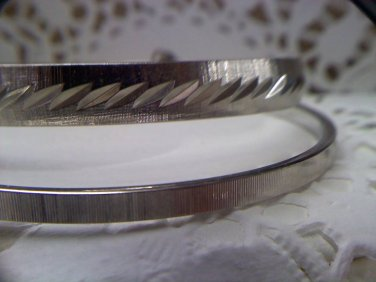 Two Monet vintage bangle bracelets - diamond cut textured and matching texured - small