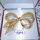 Napier goldtone 5 strand fancy bow NOS vintage brooch pin in original box