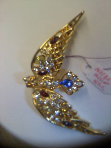 Vintage multi color rhinestone goldtone brooch pin by Nolan Miller retired designer QVC