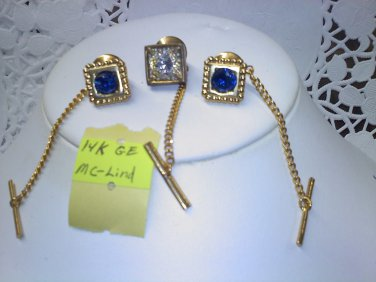 One Vintage 14k GE blue rhinestone tie tac with chain and bar