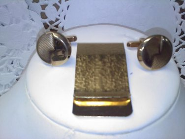 Vintage textured goldtone money clip with textured Hickok cufflinks