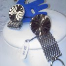 sun rays and mesh vintage silvertone foldover cufflinks