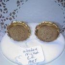 ART Indian Head wooden nickel coin clip earrings vintage clip earrings