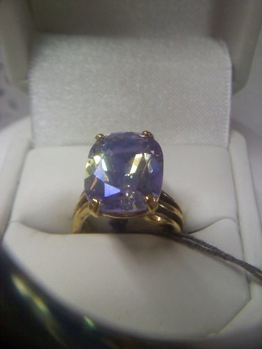 UTC 925 Lavender Lustre CZ solitaire cocktail ring - vintage gold plated size 5