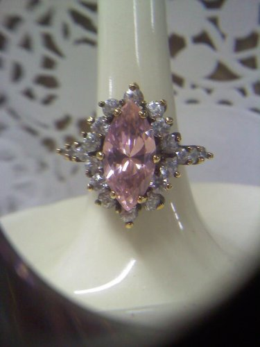 925 sterling silver Pink Ice solitaire with rhinestones cocktail ring - vintage gold plated size 7