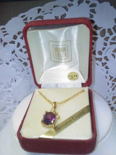 Amanda Smith vintage faux amethyst with crystals goldtone necklace in original box