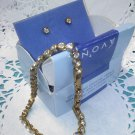 "Avon ""Sparkling Crystal Tennis Bracelet and Earrings Set"" bezel set in goldtone new in box"