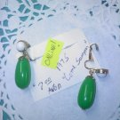 "AVON ""Come Summer"" green and white on goldtone 1975 clip earrings"