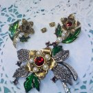 Avon 1996 Faux Marcasite and Pearl Flower Pin Brooch and Earrings Set Red Rhinestones Green Enamel