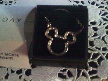 """Mickey Mouse Pendant"" Necklace 2010 AVON Disney Silvertone Rhinestones New in Box"