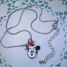 """Disney Mickey Mouse Necklace"" Santa hat 2003 AVON Silvertone Rhinestones and enamel New in Box"