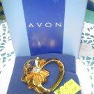 "Avon heart with ribbon and rhinestone ""Birthday Heart Pin"" goldtone New on card"
